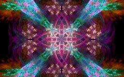 Diseño colorido brillante del extracto de la imagen de fondo bajo la forma de flor que brilla intensamente Foto de archivo libre de regalías