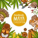 Diseño colorido de cartel sobre la civilización del maya stock de ilustración