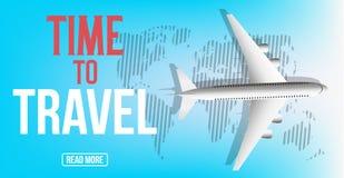 Diseño colorido de la bandera del viaje del vector con el aeroplano y el mapa Hora de viajar Fondo del vector stock de ilustración