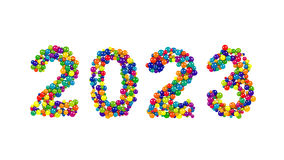 diseño colorido de la fecha del Año Nuevo 2023 con las esferas Foto de archivo libre de regalías