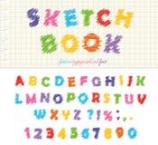 Diseño colorido de la fuente del Sketchbook ABC garabatea letras y números estridentes aislado ilustración del vector