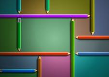 Diseño colorido de la plantilla de los lápices Fotografía de archivo
