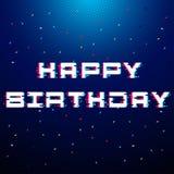 Diseño colorido de la plantilla del fondo del cumpleaños con impulso y confeti Fotos de archivo