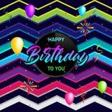 Diseño colorido de la plantilla del fondo del cumpleaños con impulso y confeti Fotos de archivo libres de regalías