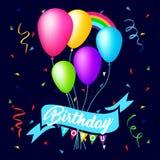 Diseño colorido de la plantilla del fondo del cumpleaños con impulso y confeti Imagenes de archivo