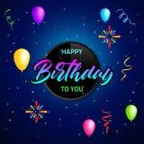 Diseño colorido de la plantilla del fondo del cumpleaños con impulso y confeti Imágenes de archivo libres de regalías