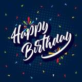 Diseño colorido de la plantilla del fondo del cumpleaños con impulso y confeti Foto de archivo libre de regalías