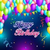 Diseño colorido de la plantilla del fondo del cumpleaños con impulso y confeti Imagen de archivo libre de regalías