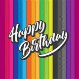 Diseño colorido de la plantilla del fondo del cumpleaños con impulso y confeti Imagen de archivo