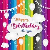 Diseño colorido de la plantilla del fondo del cumpleaños con impulso y confeti Fotografía de archivo libre de regalías