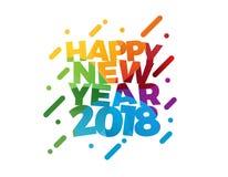 Diseño colorido de la tarjeta de felicitación del ejemplo del vector del texto de la Feliz Año Nuevo 2018 Foto de archivo