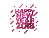 Diseño colorido de la tarjeta de felicitación del ejemplo del vector del texto de la Feliz Año Nuevo 2018 Imágenes de archivo libres de regalías