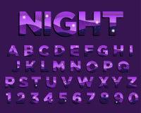 Diseño colorido de la tipografía de la púrpura abstracta de la noche stock de ilustración