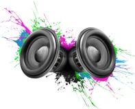 Diseño colorido de los altavoces de la música Imagen de archivo