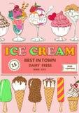 Diseño colorido del cartel del helado de la historieta Fotos de archivo
