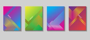 Diseño colorido del vector de la cubierta Sistema de 80 carteles Fondo geométrico Vector las plantillas para los carteles, bander Fotografía de archivo libre de regalías