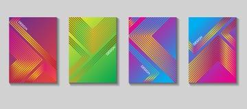 Diseño colorido del vector de la cubierta Sistema de 80 carteles Fondo geométrico Vector las plantillas para los carteles, bander Fotografía de archivo