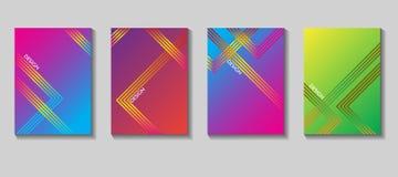 Diseño colorido del vector de la cubierta Sistema de 80 carteles Fondo geométrico Vector las plantillas para los carteles, bander Fotos de archivo