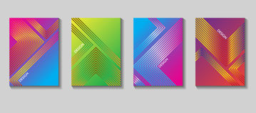 Diseño colorido del vector de la cubierta Sistema de 80 carteles Fondo geométrico Vector las plantillas para los carteles, bander Foto de archivo libre de regalías