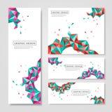 Diseño colorido geométrico de los triángulos para las banderas fijadas stock de ilustración