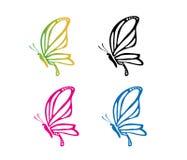 Diseño colorido majestuoso agraciado hermoso del logotipo del vector de la mariposa Imagenes de archivo
