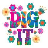 Diseño colorido psicodélico del texto de Dig It del arte pop de la MOD del estilo de los años 60 Imagen de archivo libre de regalías