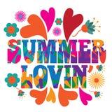 Diseño colorido psicodélico del texto de Lovin del verano del arte pop de la MOD del estilo de los años 60 Imagen de archivo libre de regalías
