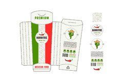 Diseño común del vector de cartulina alta que empaqueta para el mexi del burrito foto de archivo libre de regalías