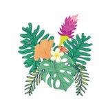 Diseño compuesto florido tropical stock de ilustración