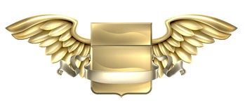 Diseño con alas metal de la voluta del escudo Imagen de archivo libre de regalías
