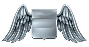 Diseño con alas plata de la voluta del escudo Imagen de archivo libre de regalías