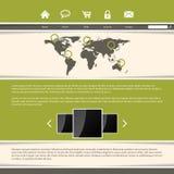Diseño con clase de la plantilla del sitio web con las rayas verdes ilustración del vector