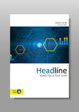 Diseño con HUD, Internet, exhibición futura de la cubierta A4 Vector Imagen de archivo libre de regalías