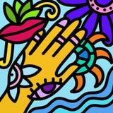 Diseño con la mano y el ojo Imagenes de archivo