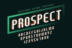 Diseño con la sombra de semitono, alfabeto de la fuente de la exhibición de vector Fotografía de archivo