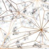 Diseño con las líneas geométricas de oro, superficie que vetea blanco y negro, fondo lujoso moderno de la textura del mármol del  Fotografía de archivo