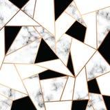 Diseño con las líneas geométricas de oro, superficie que vetea blanco y negro, fondo lujoso moderno de la textura del mármol del  libre illustration