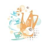 Diseño con los elementos del café Imagenes de archivo