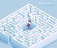 Diseño conceptual del laberinto del negocio Situación del hombre de negocios en el laberinto y pensamiento en encontrar un vector libre illustration