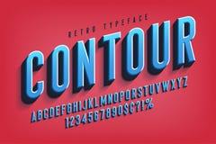 Diseño condensado de la fuente de la exhibición 3d, alfabeto, letras ilustración del vector