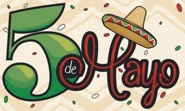 Diseño conmemorativo con el sombrero para el mexicano Cinco de Mayo Celebration, ejemplo del vector Imagenes de archivo