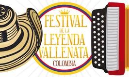 Diseño conmemorativo con el sombrero y el acordeón para el festival de la leyenda de Vallenato, ejemplo del vector libre illustration