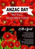 Diseño conmemorativo del cartel de la flor de la amapola de Anzac Day Fotos de archivo