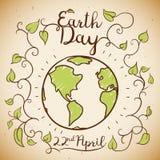 Diseño conmemorativo del Día de la Tierra en el estilo del garabato, ejemplo del vector Fotografía de archivo