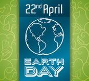 Diseño conmemorativo para el Día de la Tierra, ejemplo del vector Fotografía de archivo libre de regalías