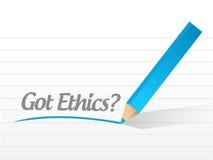Diseño conseguido del ejemplo de la pregunta de los éticas Foto de archivo