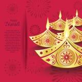 Diseño creativo de diya ardiente del diwali para la tarjeta de felicitación