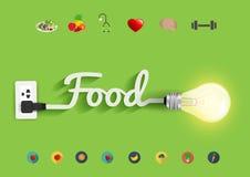 Diseño creativo de la bombilla del concepto de las ideas de la comida del vector Fotos de archivo