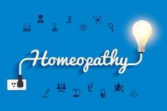 Diseño creativo de la bombilla del concepto de las ideas de la homeopatía del vector Foto de archivo