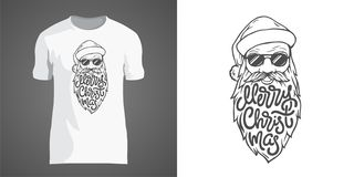 Diseño creativo de la camiseta con el ejemplo de Papá Noel en gafas de sol con la barba grande Poner letras a Feliz Navidad en fo ilustración del vector
